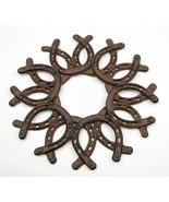 Large Cast Iron Horseshoe Wreath Western Decor - $24.74