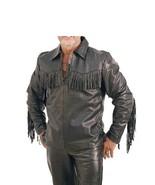 Mens Handmade Native American Mountain Man Black Buckskin Hide Shirt MM333 - $123.30+