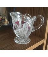 German Small Pitcher/Creamer, Lead Cut Glass Crystal, Ruby Red Bird, Vnt... - $25.00