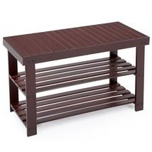 Shoe Rack Bench Bamboo Brown 2 Tier Shelf Organ... - $44.84