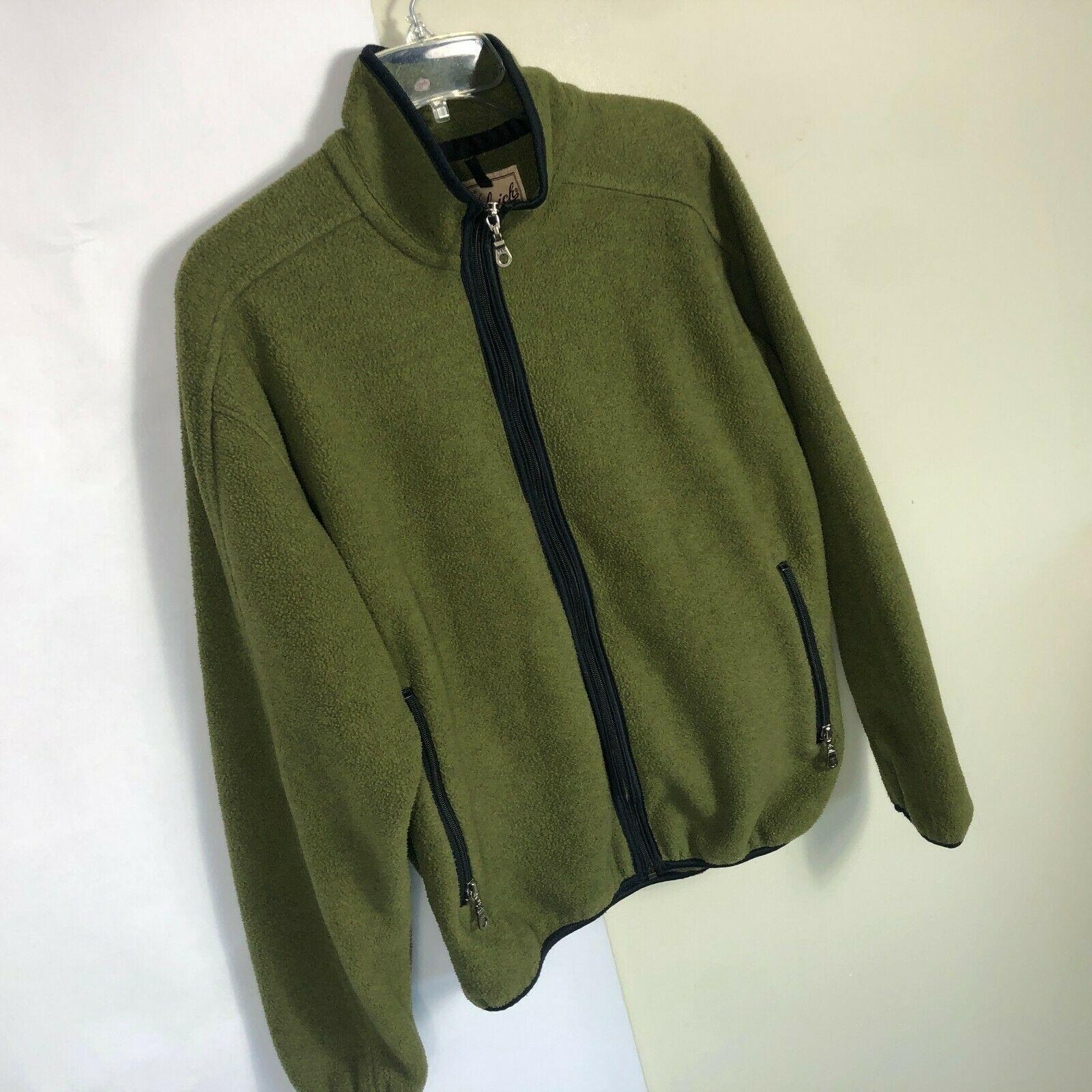 WoolRich Fleece Jacket Men's Medium Olive Green Full Zip Thick Fleece image 4