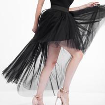 Black Slit Tulle OVERSKIRT Elastic Waist hilo Tulle Skirt Open Skirt Over Skirt image 3
