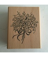 """Floral Bouquet Rubber Stamp 3""""X 2"""" Crafts Scrap-booking Flowers  - $9.85"""