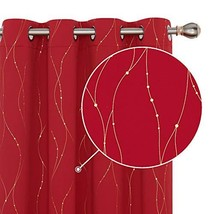 Deconovo Blackout Christmas Curtains Golden Printed Wave Line with Dots ... - $45.83