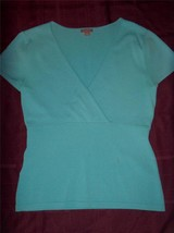 W7282 Womens ANN TAYLOR Turquoise Blue Wrap Empire Waist SWEATER Small - €13,02 EUR