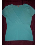 W7282 Womens ANN TAYLOR Turquoise Blue Wrap Empire Waist SWEATER Small - $15.45