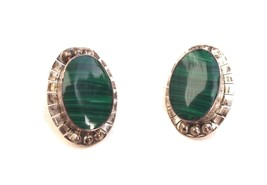 1980s Mexican green malachite and sterling silver earrings - $45.00