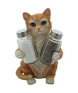 Orange Tabby Kitty Cat Glass Salt & Pepper Shaker Set with Holder Figuri... - £18.66 GBP