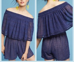 Anthropologie Tiered Eyelet Off-The-Shoulder Romper  by Ranna Gill $148 ... - $46.74