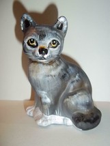 Fenton Glass Natural Gray Wolf Sitting Cat Figurine GSE K Barley LTD ED ... - $165.43