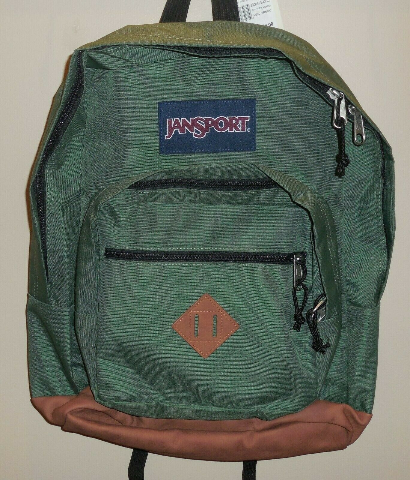 "Primary image for JanSport City View Dark Green Boys Girls Backpack Bookbag 15"" Laptop Sleeve New"