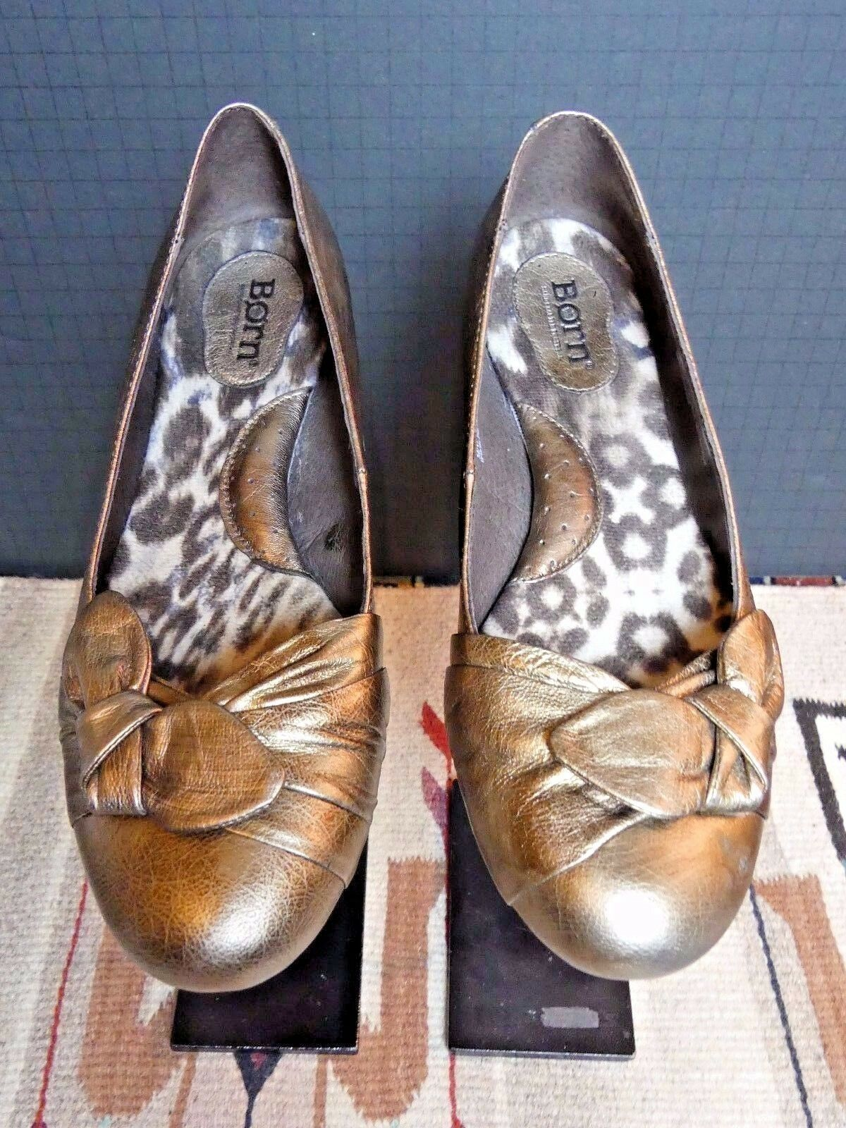 Women's BORN Gold Leather Bow-Tie Flats Sz. 38.5/7.5 NICE!