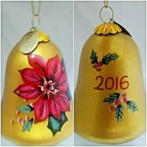 "Pier 1 2016 ""Li Bien"" Hand Painted Poinesetta Bell Christmas Ornament Co... - $9.99"