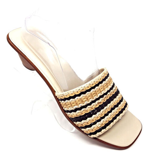 Primary image for Cole Haan Black/Tan Braided Leather Slides Open Toe Sandals Brazil Womens 10 B