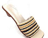 Cole Haan Black/Tan Braided Leather Slides Open Toe Sandals Brazil Womens 10 B