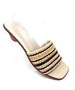 Cole Haan Black/Tan Braided Leather Slides Open Toe Sandals Brazil Women... - $34.63
