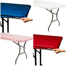 Stay Put Tablecover 29 x 72 Banquet Table Windproof White Blue Red Gingh... - $7.49