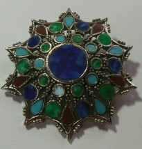 Vintage Signed ART Faux Turquoise, Coral, Lapis Inlay Starburst Brooch - $130.50