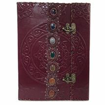 "Seven Chakras Leather Journal 10x7"" w/ Gemstones and Latch Closure #GRV20 - $100.17"