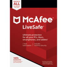 Mcafee Livesafe 2020 - 4 Year Unlimited Devices - Windows Mac - Download Version - $74.49