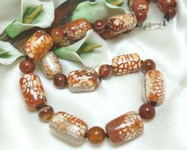 Burnt Orange Crackle Fire Agate Beaded Necklace 22 inch - $35.00