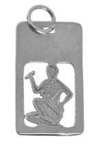 WOW Sterling silver Dog Tag Zodiac Charm Virgo Maiden ear corn Military ... - $12.21