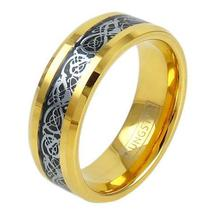 14K GOLD ION PLATED TUNGSTEN RING W/ SILVER CELTIC DRAGON ON BLACK INLAY - $52.85