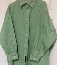 Tommy Hillfiger Dress Shirt Green White Striped Sz 17 32 / 33 - $24.74