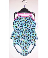 Girls cheetah leopard print tankini swimsuit turquoise 4 5 6 7 NEW 2 piece - $13.49