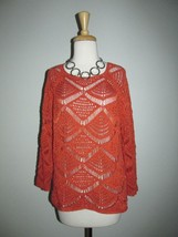 Chico's Size 2 (L 12) Burnt Orange Open Weave 3/4 Sleeve Sweater - $32.55