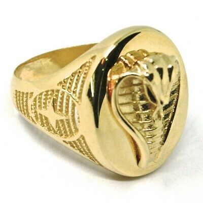 SOLID 18K YELLOW GOLD BAND MAN RING, COBRA IN RELIEF, OVAL, SNAKE, VERY DETAILED
