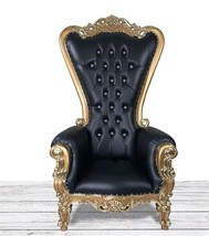 Gold and Black Throne Chair. Hand Carved Mahogany High Back Chair W Diam... - £676.64 GBP