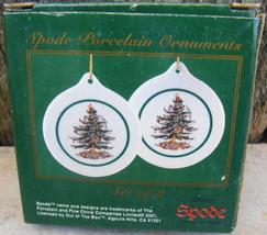Vintage Spode Christmas Tree Disk Ornaments Porcelain in box (2) - $14.99