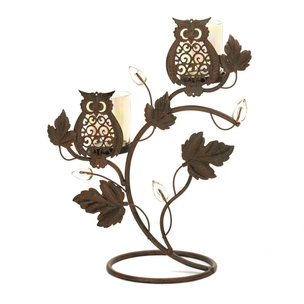 Wise Owl Duo on Vine & Leaf Votive Candle Holder Stand image 2