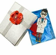 Cute Male Doctor Nurse Medical Hero Gify Acrylic Acetate Brooch Pin C Clasp - $17.03