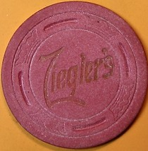Vintage Casino Chip. Zieglers Rendezvous, Stockton, CA. 1950s. Q19. - $5.99