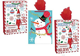 Christmas Bags XL with Tissue Paper, 2 Styles Paper Bags Elfs and Snowma... - $14.80