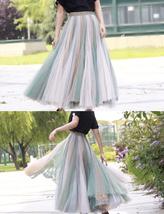 Pastel Rainbow Tulle Skirt Womens Plus Size Rainbow Maxi Skirt Pleated Stripe image 11