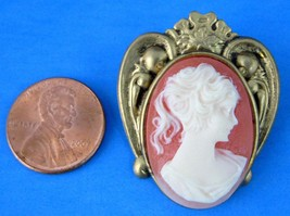 Cameo Pin Pink White Lady Brass Heart Wings Brooch Resin 1990 Victorian Molds - $18.00