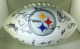 2018 PITTSBURGH STEELERS / TEAM SIGNED STEELERS LOGO WHITE PANEL FOOTBALL / COA