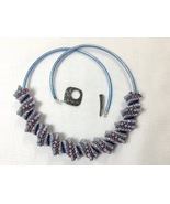 Necklace Women Large Bead Woven Spiral Denim Blue and Purple Beads On Le... - $75.00