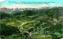 Vtg Linen Postcard Panorama From Airplane - Estes Village Colorado CO Un... - $8.95