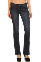Womens Jeans Stretch Boot Cut Mid Rise Dark Wash Denim Pants EnJean Bootcut