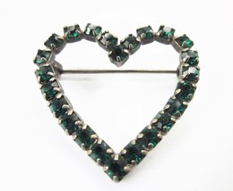 "HEART SHAPED PIN GREEN SPARKLY RHINESTONES VINTAGE PIN 1 ¼""  - $9.49"