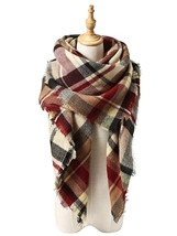 American Trends Women's Fall Winter Scarf, Classic Tassel Plaid, Warm So... - £15.08 GBP