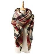 American Trends Women's Fall Winter Scarf, Classic Tassel Plaid, Warm So... - $25.60 CAD