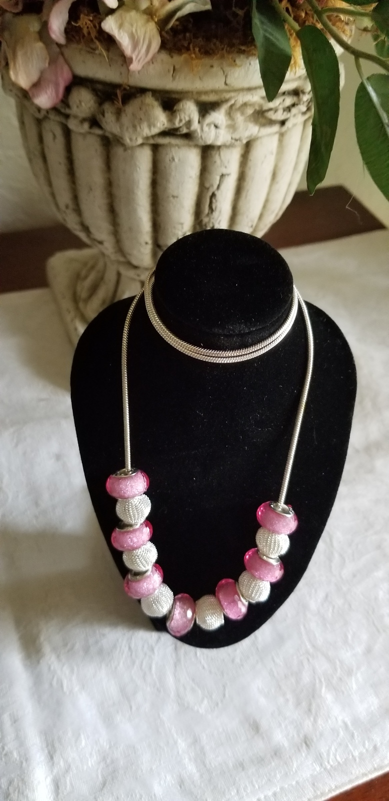 Primary image for Funky pink and silver necklace, sterling silver snake chain, large faceted pink