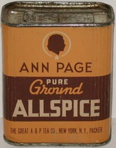 Vintage spice tin ANN PAGE Pure Ground Allspice cardboard cameo woman A ... - $9.99