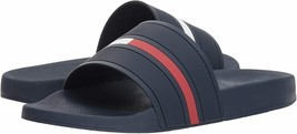 Men's Tommy Hilfiger Designer Logo Slippers Navy Blue Ennis Slide Sandals image 2