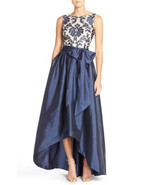 Adrianna Papell Women's High Low Taffeta Ball Gown with Embroidered Lace... - $247.49+